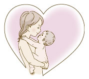 母と赤ちゃんイラスト